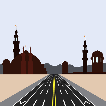 East city on the horizon. Direct road highway with markup. Dedicated lanes for public transport.  illustration
