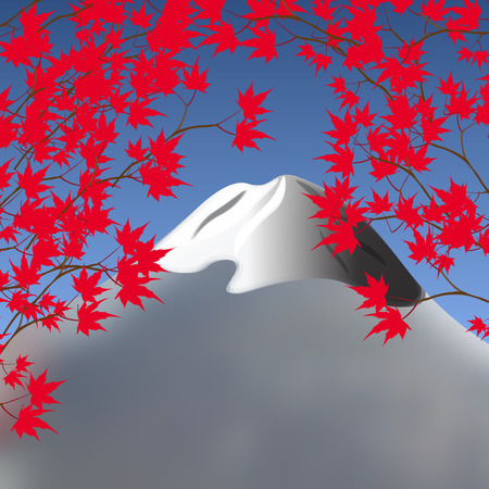 snowcapped landscape: Red maple leaves on branches on both sides. Japanese red maple on a background of mountains with snow-capped peaks. Landscape.  illustration
