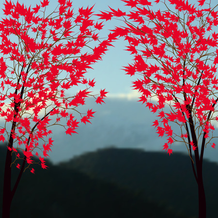 snowcapped landscape: Greeting card with autumn landscape. Red maples. Japanese red maple on a background of mountains with snow-capped peaks.  illustration