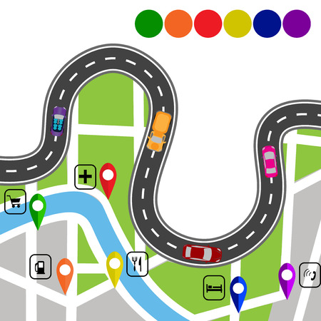 specifies: Road infographics. Winding road with signs. The path specifies the navigator.  illustration