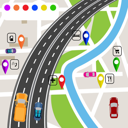 specifies: Road infographics. Slight bend in the road with markers on the map terrain. The path specifies the navigator.  illustrations Stock Photo