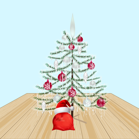 a sprig: Decorated Christmas tree with toys. New Year decorations. Gifts from Santa Claus.  illustration