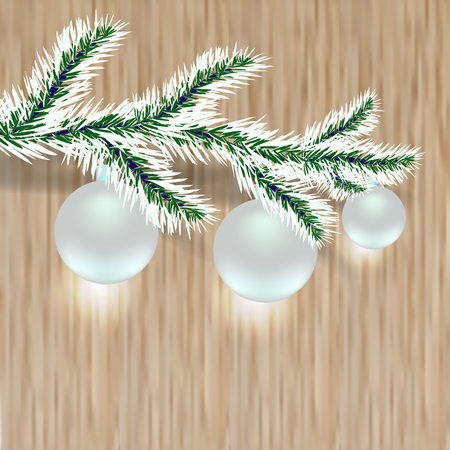a sprig: Sprig of tree with silver balls. Christmas, New Year. Wood background.  illustration Stock Photo