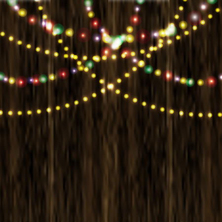 varnished: Bright festive lights in the background of varnished wooden surface.  illustration Stock Photo
