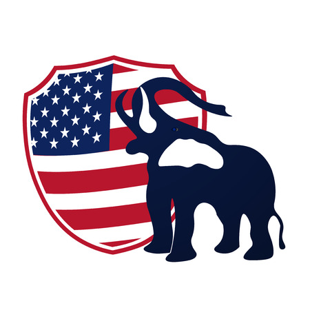 Republican elephant in the background of the shield in the colors of the American flag. Republican victory in US elections. Vector illustration