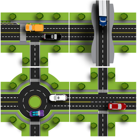 roundabout: Set transport hub. The intersections of various roads. Roundabout Circulation. Traffic. Objects with shadow. Vector illustration