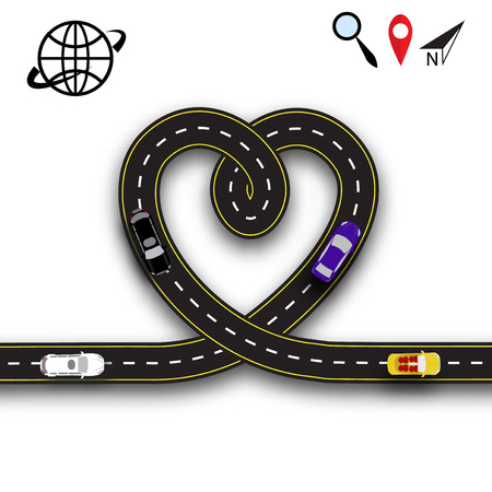 Cards for Valentine s Day. Trips by car. Heart in the form of the road on a white background isolated. 3D. Vector illustration Illustration
