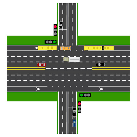prospect: Road infographics. Large highway intersection with the road. With the cars and traffic lights. loaded maps of roads and public transport. Top view of the highway.  illustration