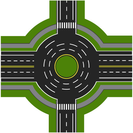 Road infographics. Road interchange, roundabouts. It is showing the movement of cars. Sidewalks and crossings.  illustration Banco de Imagens