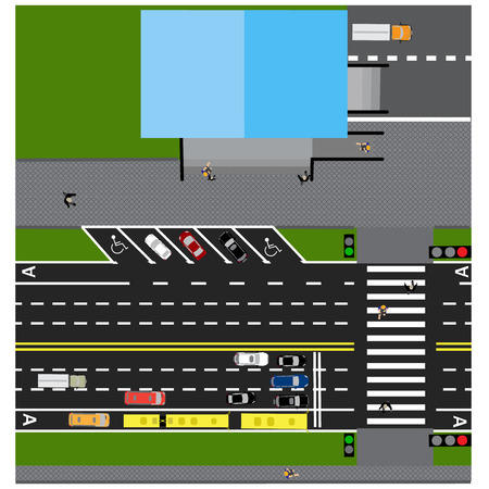 prospect: Plot road, highway, street, with the store. With different cars. Crossing and parking cards. Top view of the highway.  illustration