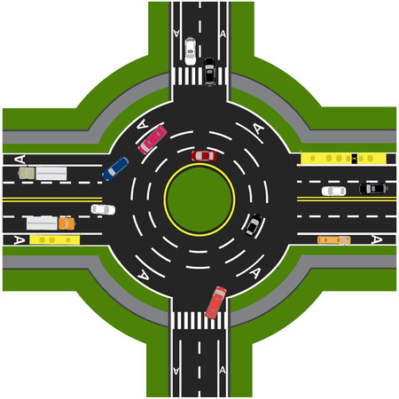 thoroughfare: Road infographics. Road interchange, roundabouts. It is showing the movement of cars. Sidewalks and crossings.  illustration Stock Photo
