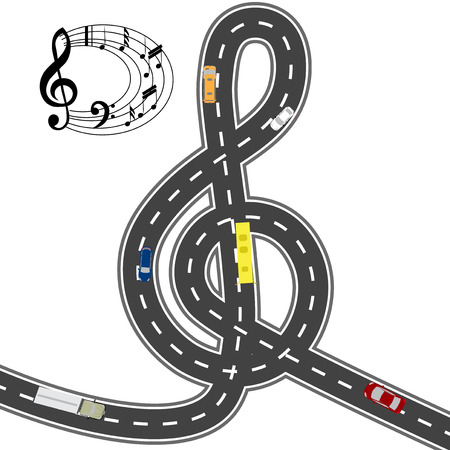 humorous: Musical automotive equipment. To the music of the way shorter. Humorous image.  illustration