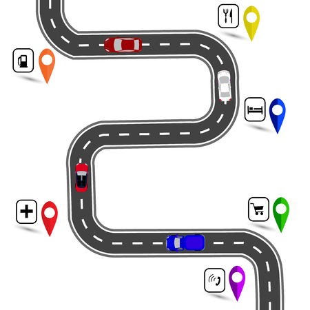 specifies: Winding road with stops signs. The path specifies the navigator.  illustration