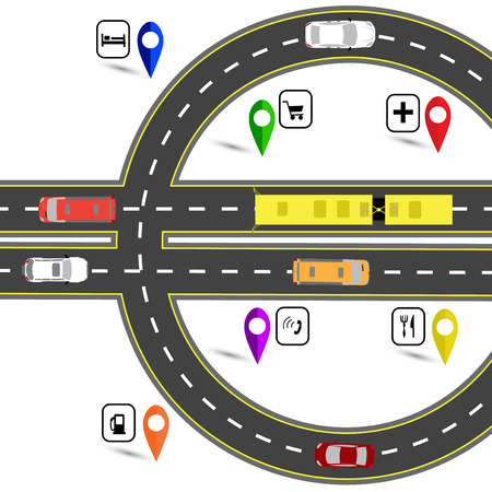 Road junction resembling a euro sign. The path for the navigator. Humorous image.  illustration
