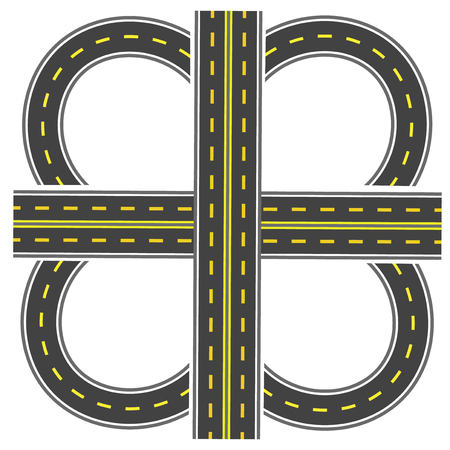 thoroughfare: Set to build a transport interchange. Highway with yellow markings.  illustration Stock Photo