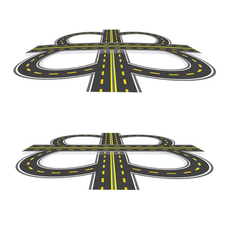 thoroughfare: Road interchange. Highway with yellow markings in the perspective.  illustration: Stock Photo