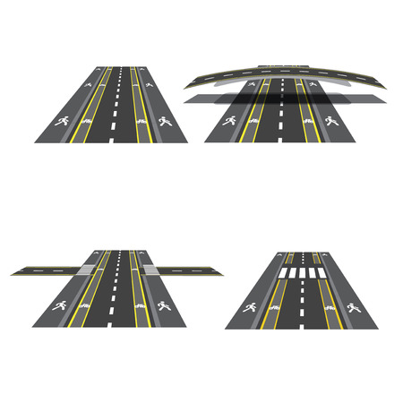 Set of different road sections with peshihodnymi crossings, bicycle paths, sidewalks and intersections. Vtctor illustration