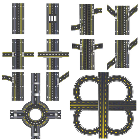 thoroughfare: Set of different road sections with a circular dvizheniemi isolation. Transitions, turns and various intersections. series depicts the sidewalks, marked bicycle lanes. View from above.  illustration Stock Photo