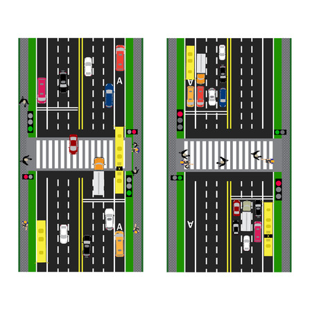 thoroughfare: Highway Planning. roads, streets and traffic lights with the transition. Image sidewalks, transition lanes for public transport. View from above.  illustration