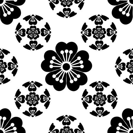 graduate asian: Sakura seamless stylized flower, symbolizes the arrival of spring, the Japanese symbols, black on white background, isolated,  illustration