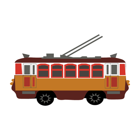 Figure yellow, a small trolley on white background.  illustration