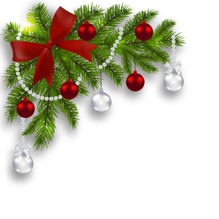 Christmas card. Green branches of a Christmas tree with silver, red balls and ribbon on a white . Angular. Christmas decorations.