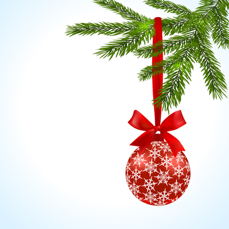 Green tree branch with red ball and ribbon on a white background. Ball decorated with snowflakes. Vector illustration