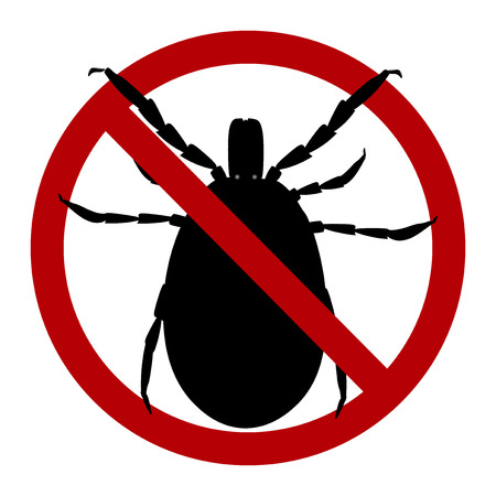 Warning sign. harvest bug in a red circle.  illustration