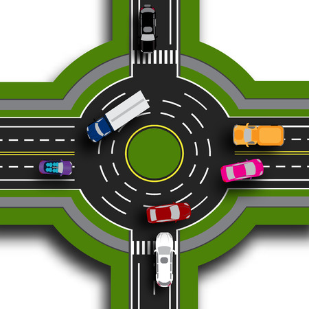 Road infographics. Top view 3d. Road interchange, roundabouts. This shows the movement of cars. Sidewalks and crossings.  illustration