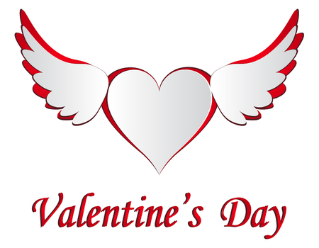 Red and white heart with wings cut on the isolated white background. Postcard in honor of Valentine s Day. Vector illustration