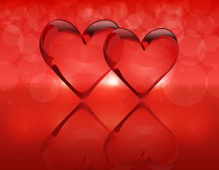 flirting: Two crystal hearts and their reflection. Gradient background. Vector illustration
