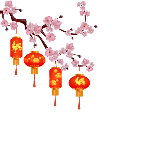 A set of orange-red Chinese lanterns on a blossoming branch of cherry. Round and cylindrical form with drawings rooster and lotus. Isolated on white background. Vector illustration