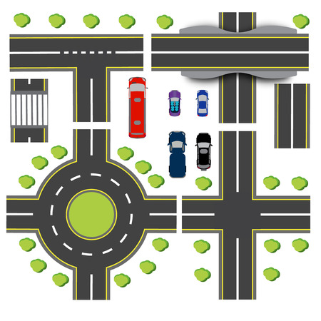 roundabout: Set design of transport interchanges. Intersections of different highway. Roundabout Circulation. Transport. Bridge. Vector illustration