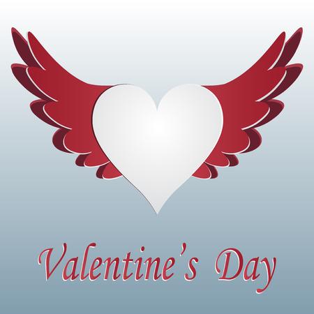 Corazón rojo y blanco con alas cortadas en fondo gradent. Saludo inscripción Día de San Valentín. Ilustración vectorial