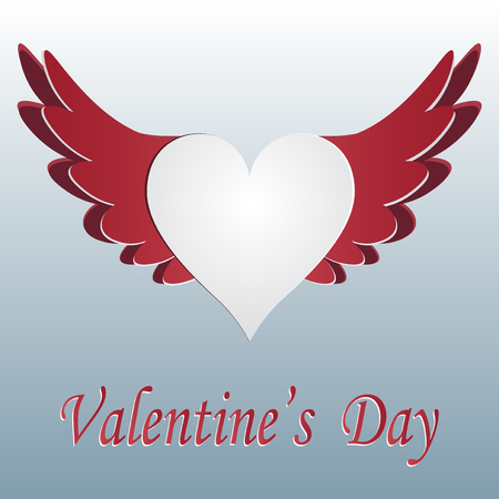 Red and white heart with wings cut on gradent background. Greeting inscription Valentine s Day. Vector illustration