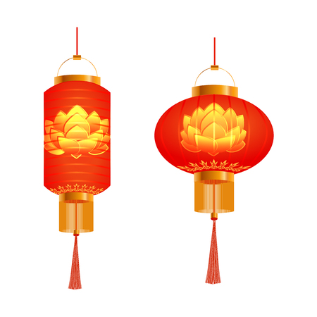 tissue paper art: A set of orange Chinese Lanterns. Lotus pattern. Round and cylindrical shape. Isolated on white background. Vector illustration