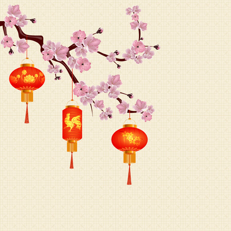 Red Chinese lanterns hanging on a branch of cherry blossom with pink flowers. Round and cylindrical form with drawings. sakura. Vector illustration Illustration