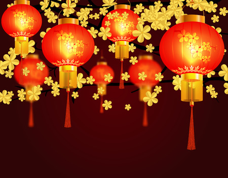 Red Chinese lanterns hung in the park. Round shape with patterns. Against the background of yellow sakura blossoms. Vector illustration