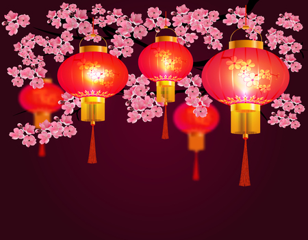 Red Chinese lanterns hanging in the park. Sakura. Round shape with patterns. Against the backdrop of pink cherry blossoms. Vector illustration
