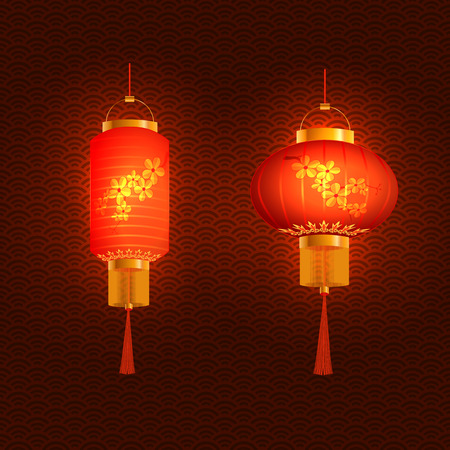 tissue paper art: Set of red Chinese lanterns. Round and cylindrical shape. In openwork background.  illustration