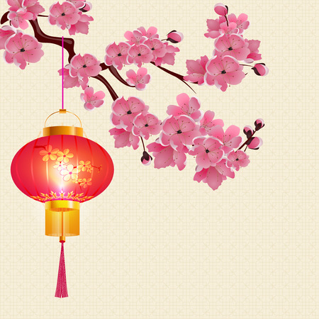 Red Chinese lanterns hanging on a branch of cherry blossoms with purple flowers. Round shape with patterns.  illustration