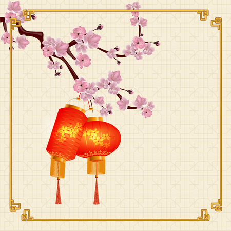 A set of orange-red Chinese lanterns on a branch of cherry blossoms. Round and cylindrical shape. The frame on paper texture background.  illustration