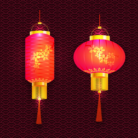 tissue paper art: A set of purple Chinese lanterns. With cherry pattern. Sakura. Round and cylindrical shape. The tracery background.  illustration