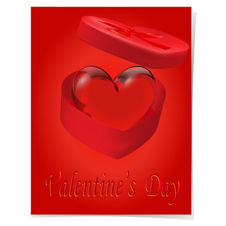 crystal heart: Crystal Heart in a gift box with a red bow on a red background. Caption of the Day of St.Valentines.  illustration
