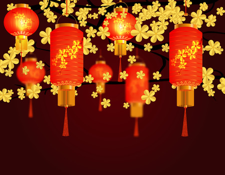 Red Chinese lanterns hanging in the park. A cylindrical shape with a pattern. Against the background of yellow cherries. Vector illustration