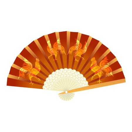 Folding fan. . 2017 fire rooster. Vector illustration