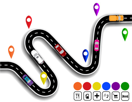 specifies: Winding road with signs. The movement of cars. The path specifies the navigator. Vector illustration