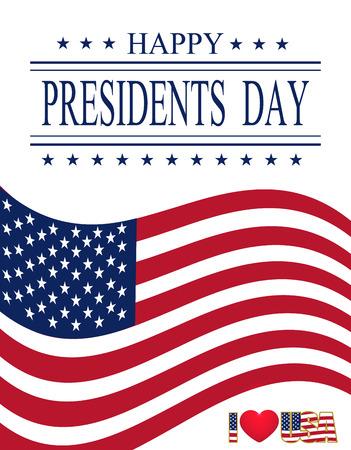 大統領の日。シンボルのグリーティング カード。挨拶の碑文。ベクトル イラスト