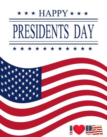 Presidents Day. Greeting card with symbols. Greeting inscription. vector illustrations