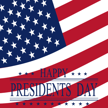 Presidents Day. Greeting card with symbols. Greeting inscription on the background of the flag. vector illustrations